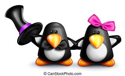Whimsical Cartoon Penguins