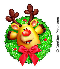 Whimsical Cartoon Reindeer Wreath