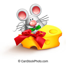 Whimsical Cartoon Santa Mouse Eating Cheese