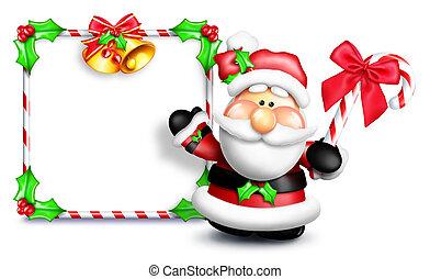 Whimsical Cartoon Santa Sign