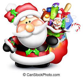 Whimsical Cartoon Santa with Bag