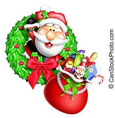 Whimsical Cartoon Santa Wreath