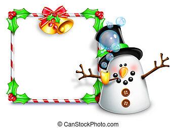 Whimsical cartoon Snowman Sign