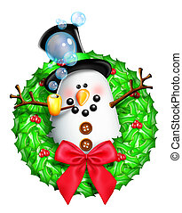 Whimsical Cartoon Snowman Wreath