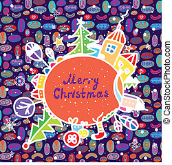 Whimsical christmas card with town and pattern