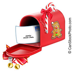 Whimsical Christmas Mailbox with Letter