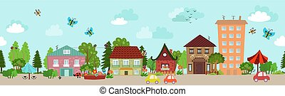 whimsical, cityscape, ontwerp, seamless, jouw