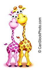 Whimsical Cute Cartoon Giraffes Boy and Girl