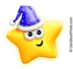 Whimsical Cute Cartoon Santa Star
