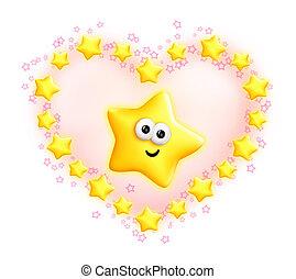 Whimsical Cute Cartoon Star Heart