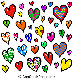 Whimsical Doodle Love Heart Background Design