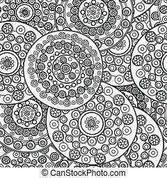 Whimsical floral background in black and white