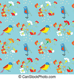 Whimsical floral background with birds for holidays card