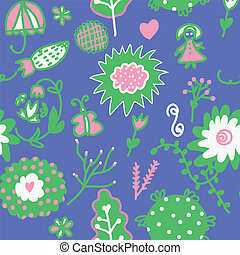 Whimsical floral seamless pattern for kids
