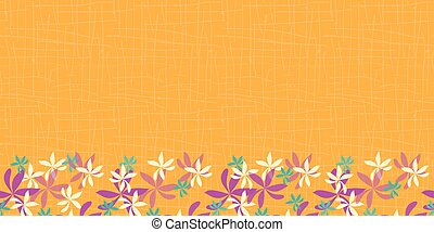 whimsical flower border on orange background. seamless repeat pattern Modern and original textile, wrapping paper, wall art design.