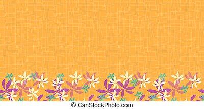 whimsical flower border on orange background. seamless ...