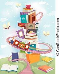 whimsical, gebouw, trein, boekjes , stapel