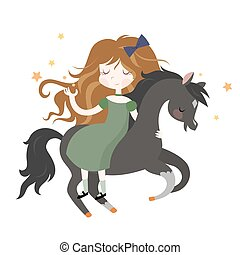 Whimsical girl on black horse. Vector illustration isolated...