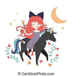 Whimsical girl on black unicorn