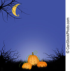 Halloween Copy Space or Background With Moon and Jack-o-Lanterns