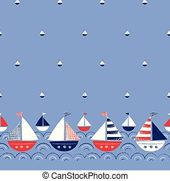 Whimsical Hand-Drawn Ships in the Sea Vector Seamless Border and Pattern. Cute Nautical Marine Background. Crayons