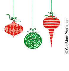 Whimsical Hanging Christmas Ornaments - Three cute retro...