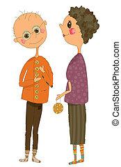 Whimsical illustration of an Older Couple