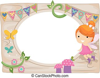 Whimsical Kid Girl Fairy Wood Board Frame