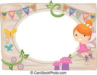 Whimsical Kid Girl Fairy Wood Board Frame