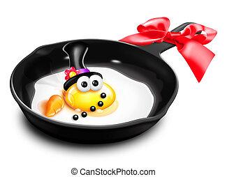 Whimsical Melted Cartoon Egg Snowma