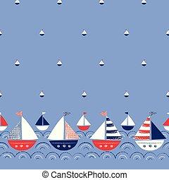 whimsical, schattig, crayons, schepen, grens, pattern., seamless, achtergrond., hand-drawn, vector, zee, nautisch, marinier