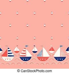 whimsical, schattig, crayons, zee, marinier, schepen, seamless, hand-drawn, vector, achtergrond, nautisch, pattern., grens