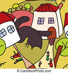 Whimsical seamless pattern with cat, houses and people