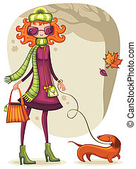 Whimsical shopping girl with dachshund in the autumn park.