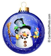 Whimsical Snowman Christmas Ball