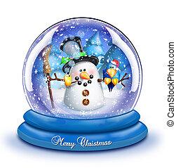 Whimsical Snowman Snow Globe