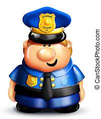 whimsical, spotprent, politieagent