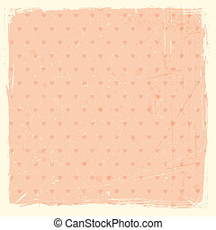 Whimsical texture grunge background with heart pattern