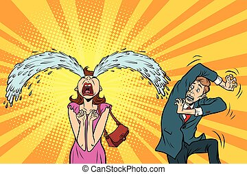 Whimsical weeping woman and funny fright men. The husband...