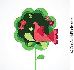 whimsy, bloem, boompje, en, vogel