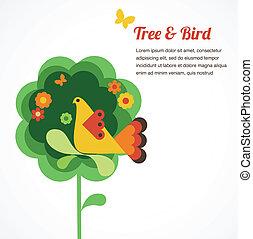whimsy, fiore, albero, e, uccello