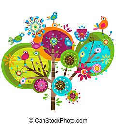 whimsy flowers - whimsy flower tree and birds