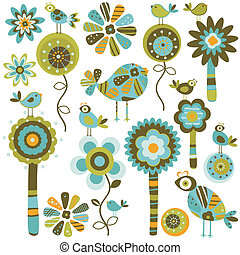 whimsy flowers - whimsy forest with flower trees and birds