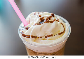 Whip Cream Frappe Coffee - Ice And Whip Cream Frappe Coffee...