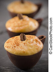 coffee mousse in a dark chocolate cup