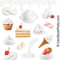 Whipped cream, milk, ice cream, cake, cupcake, candy. Sweet...