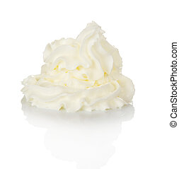 Whipped cream isolated on white
