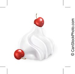 Whipped cream with berries, illustration, isolated on white...