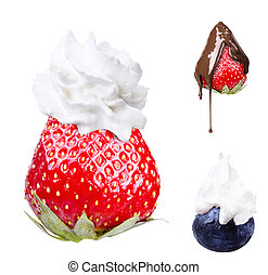 Whipped cream with tasty blue berrie and strawberry on a top...