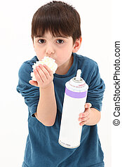 Whipped Topping - Adorable 5 year old boy sneaking a taste...